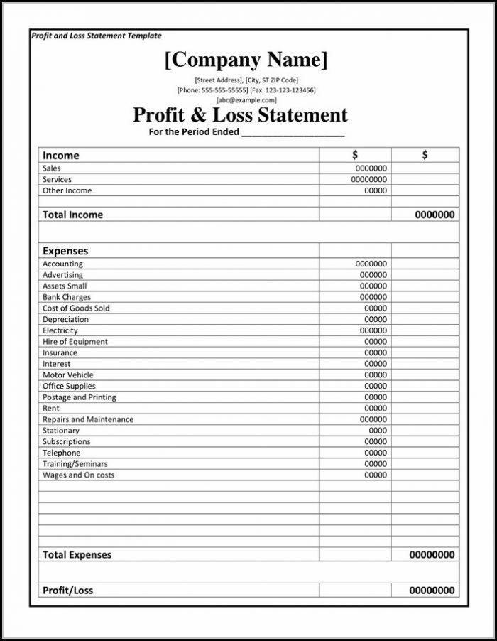 Profit Loss Format