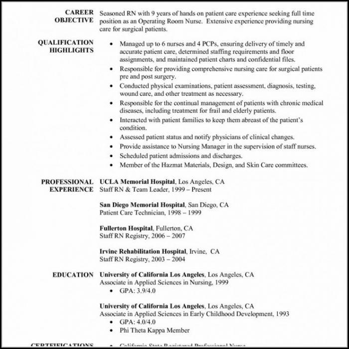 Registered Nurse Resume Template Download Resume Resume Examples