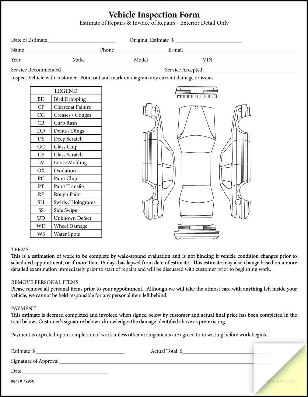 Rental Vehicle Inspection Form Template Form Resume Examples