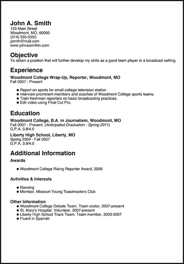 Resume Builder For College Students
