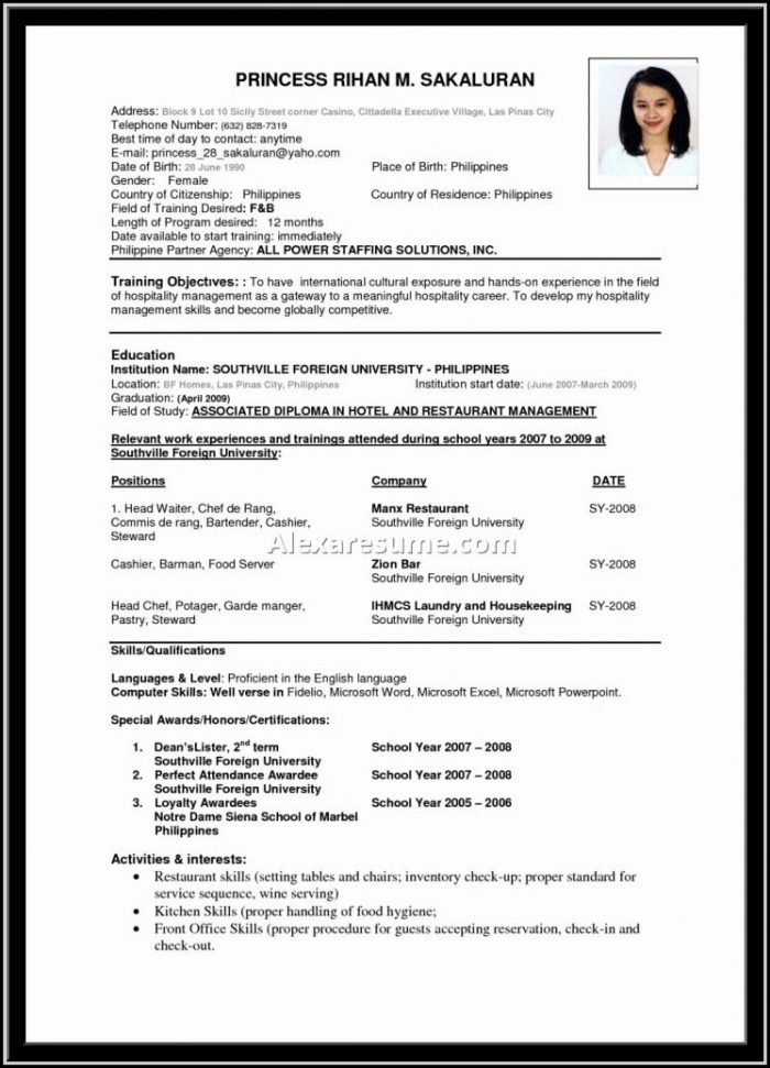 Resume Format For Hoteliers