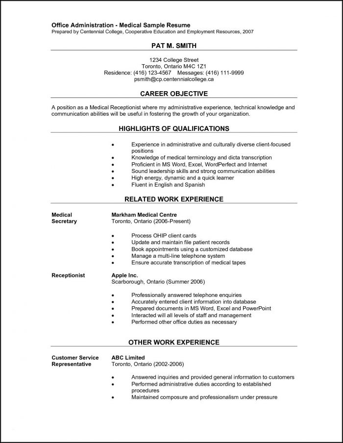 Resume Samples For Medical Office Assistant