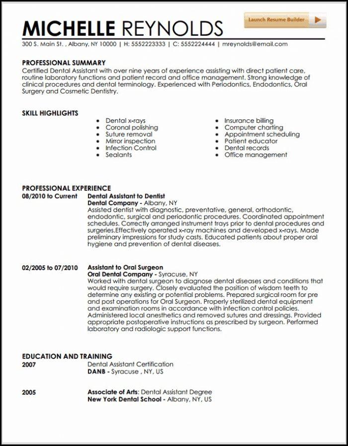 Resume Template Dental Assistant