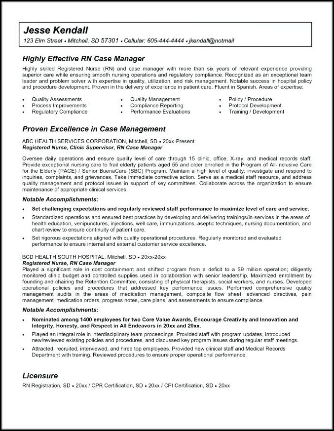 Rn Case Manager Resume Template