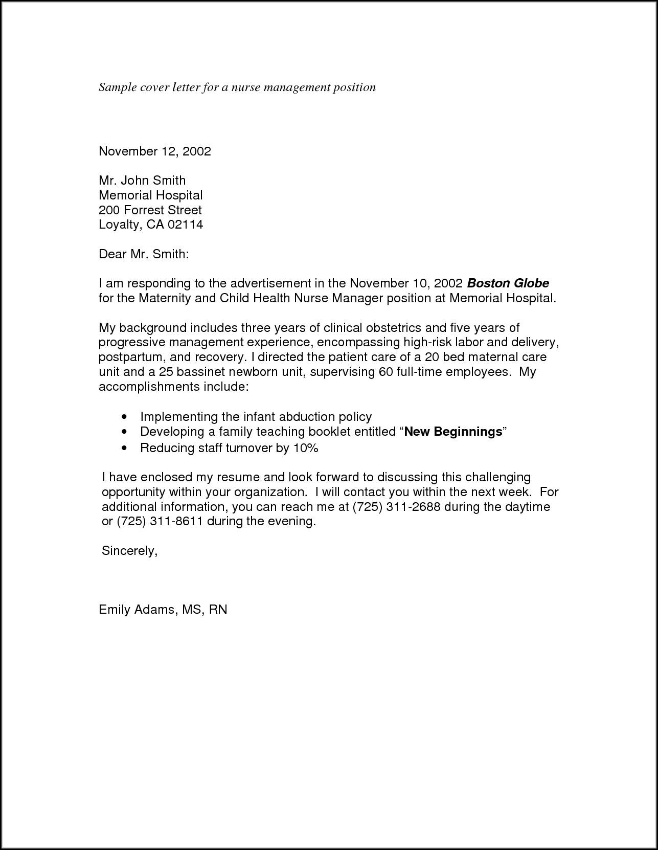 Rn Job Application Cover Letter