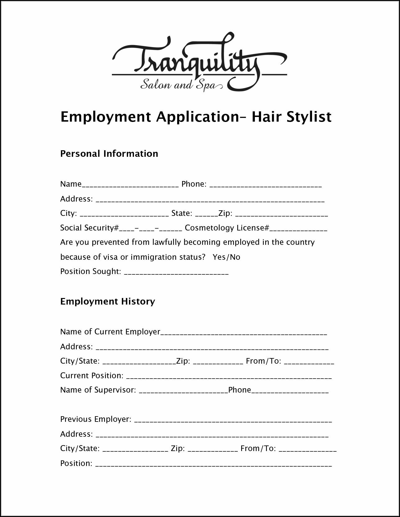 salon-job-application Salon Job Application Forms on printable restaurant, basic blank, dunkin donuts, clip art, new york, foot locker,