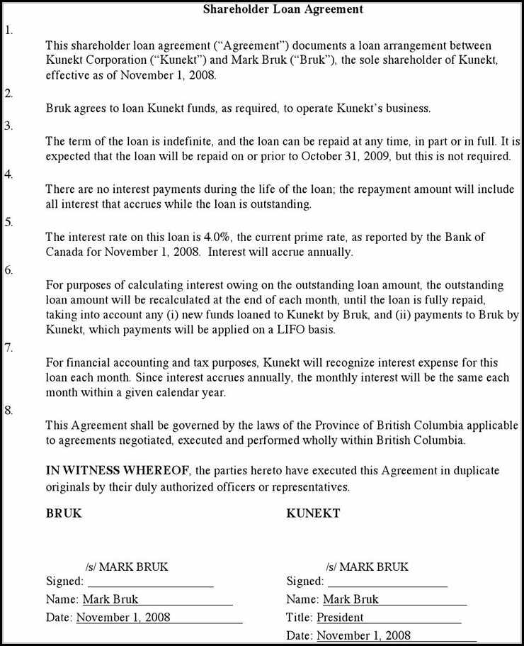 Shareholder Loan Agreement Template Free Template 2 Resume