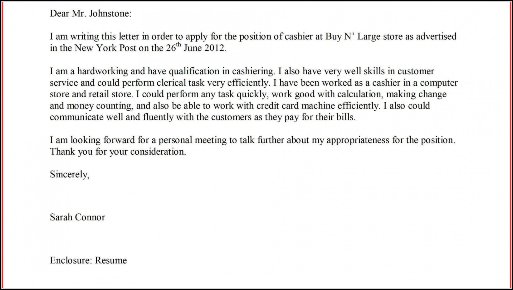 Supermarket Job Application Letter Sample