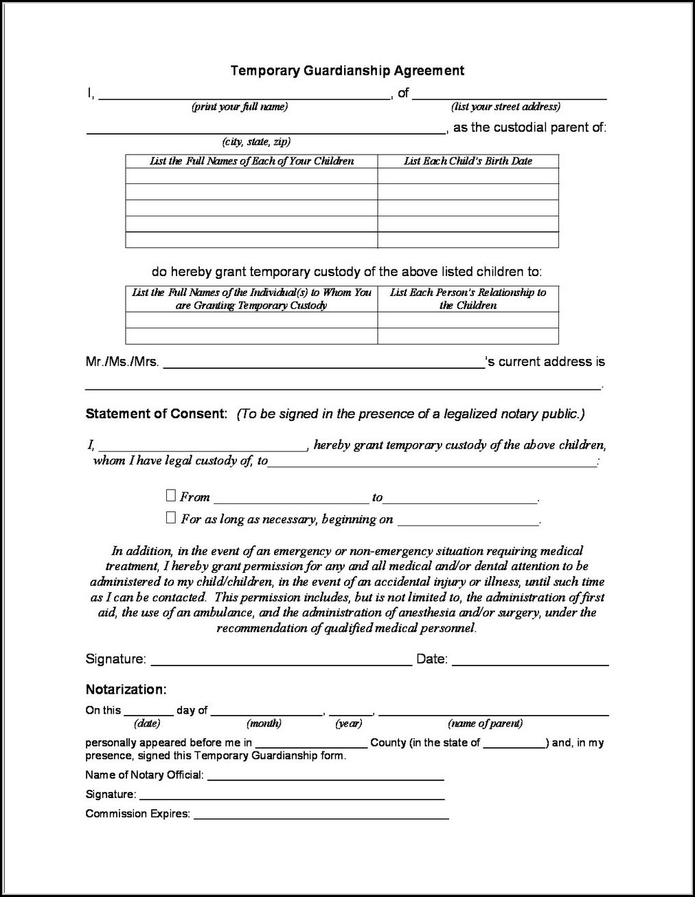 photo regarding Indiana Printable Guardianship Papers called Non permanent Guardianship Kinds Indiana - Type : Resume