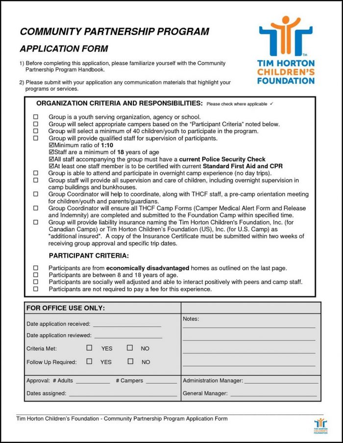 Tim Horton Application Form