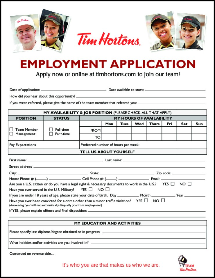 tim hortons employment application form canada job applications