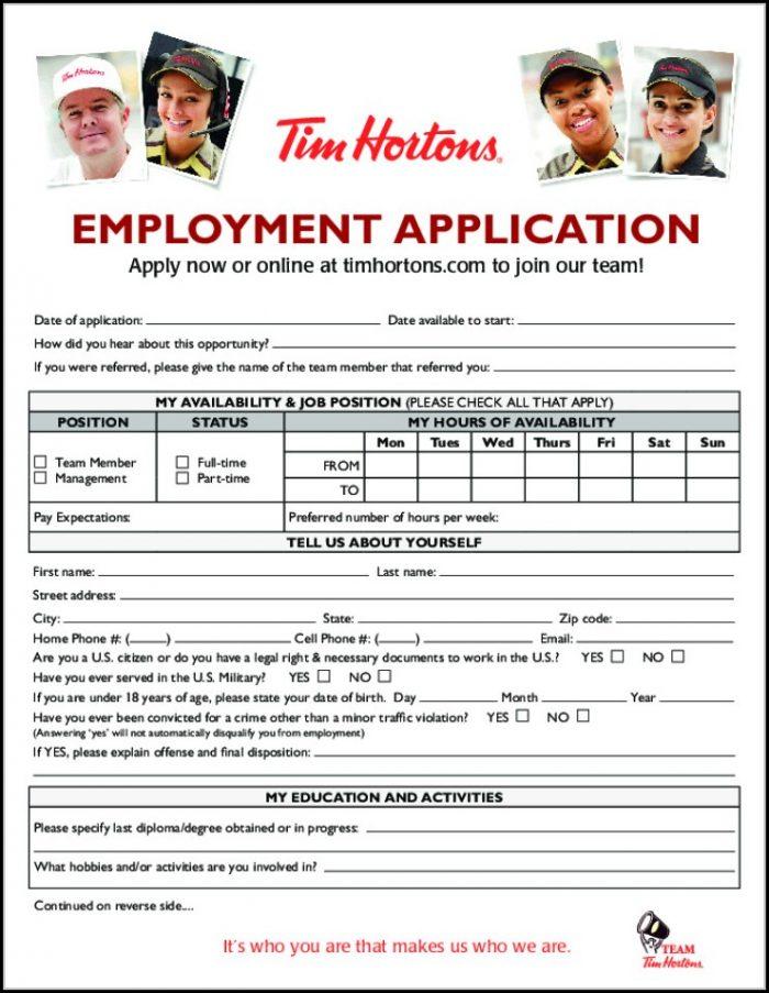 Tim Hortons Job Application Form Canada