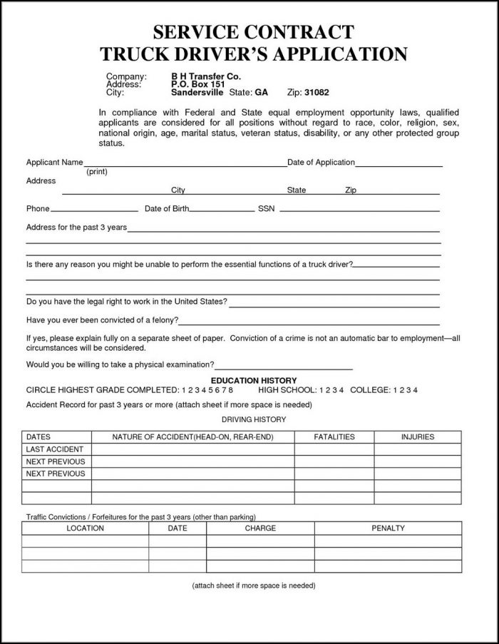 Truck Driver Job Application Template