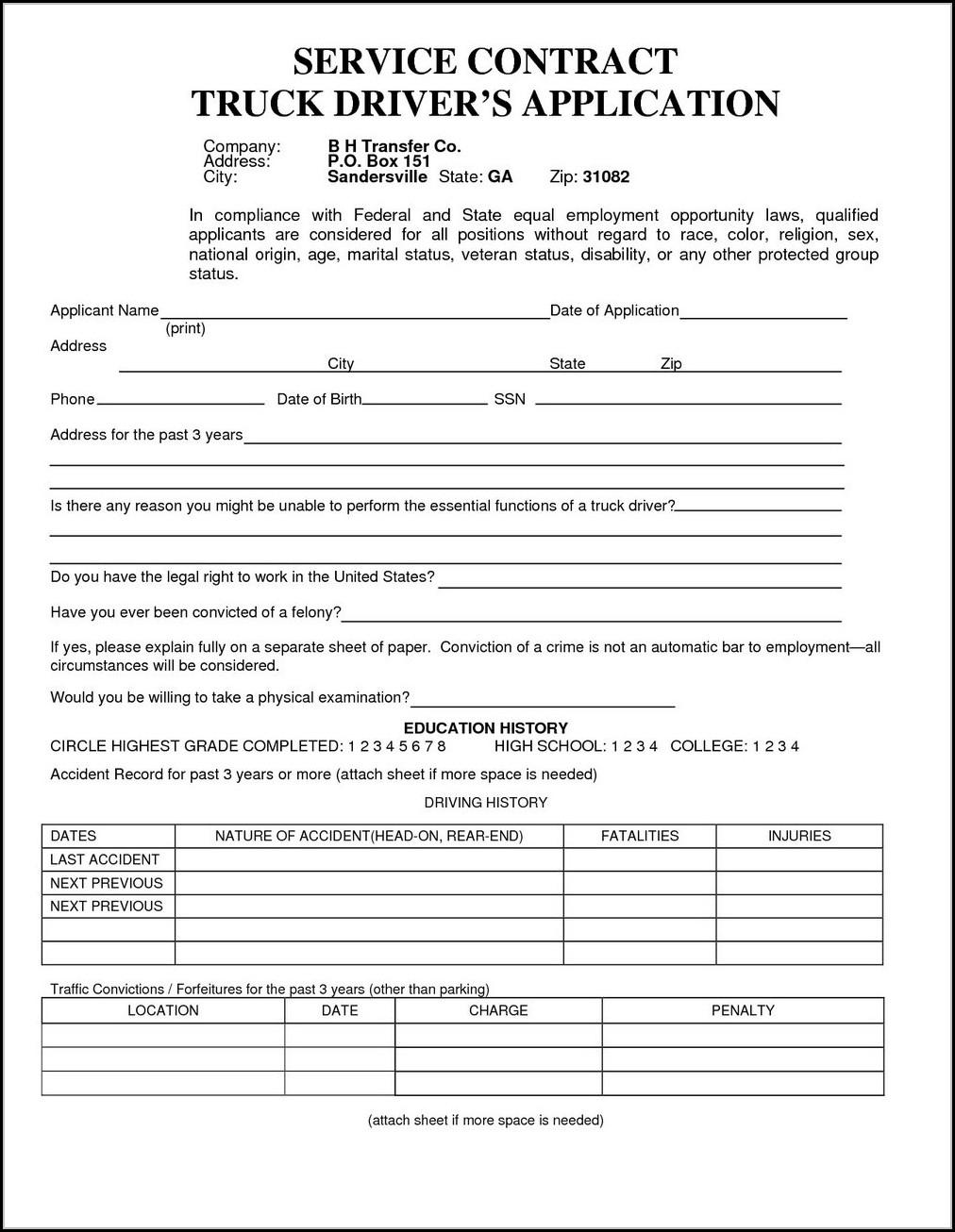 Truck Driver Job Application Template