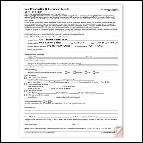 Va Termite Inspection Form