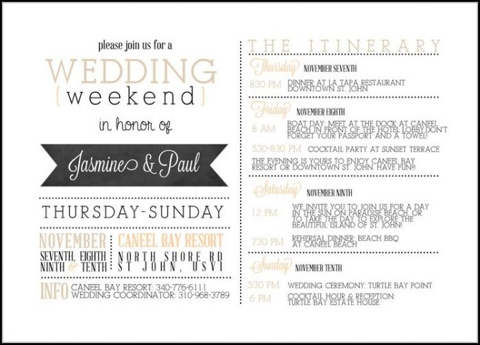 Wedding Itinerary For Guests Template Free