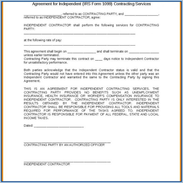 1099 Form Independent Contractor Agreement
