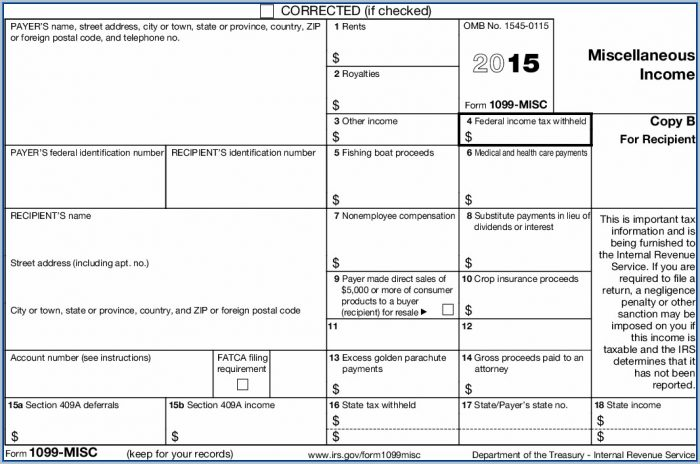 1099 Tax Form 2015 Printable