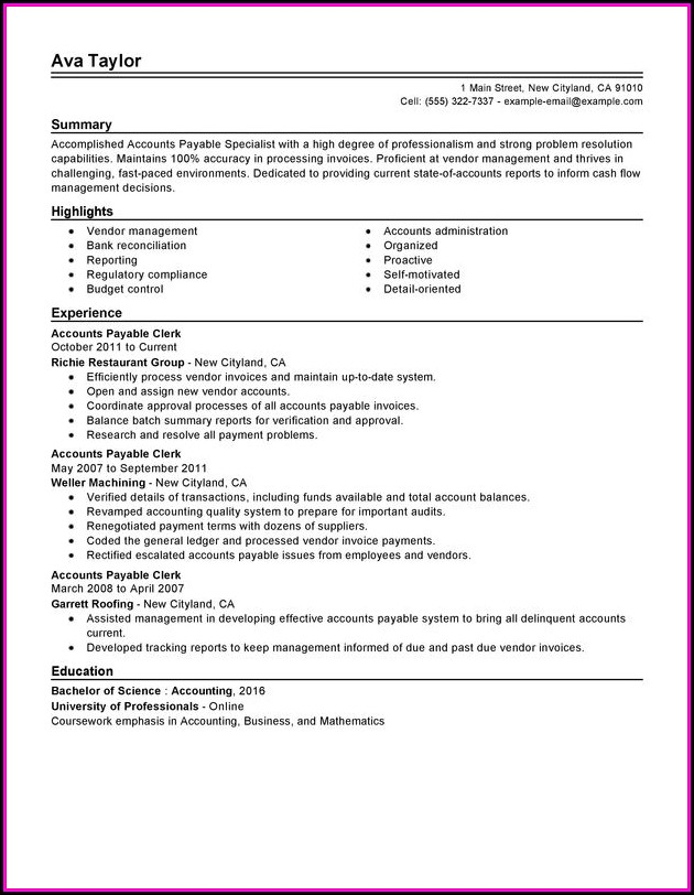 Accounts Payable Specialist Resume Templates