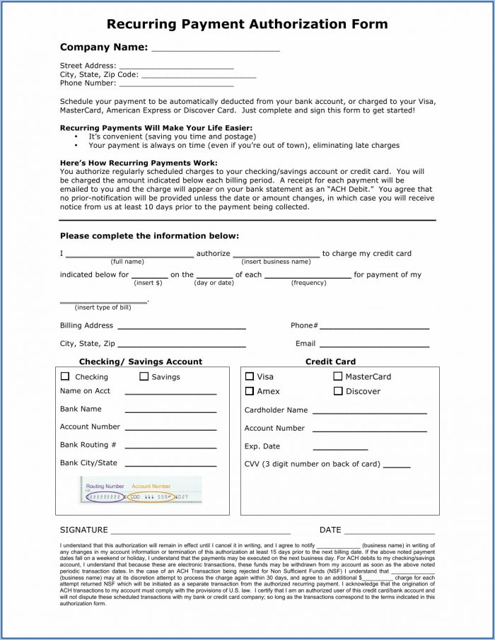 Ach Credit Authorization Form Template