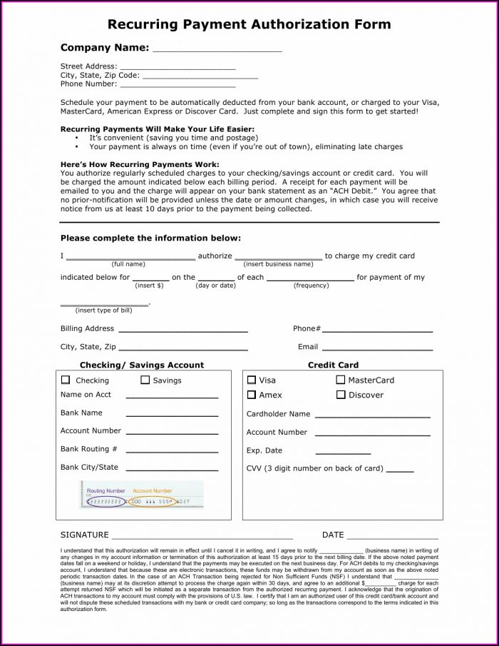 Ach Credit Card Authorization Form Template