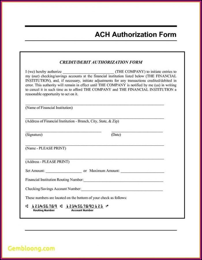 Ach Direct Deposit Authorization Form Template