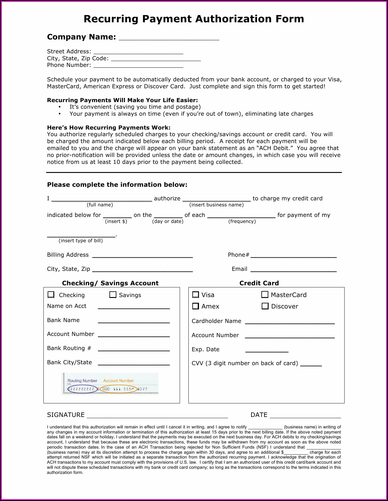 Ach Payment Authorization Form Template Template 2 Resume