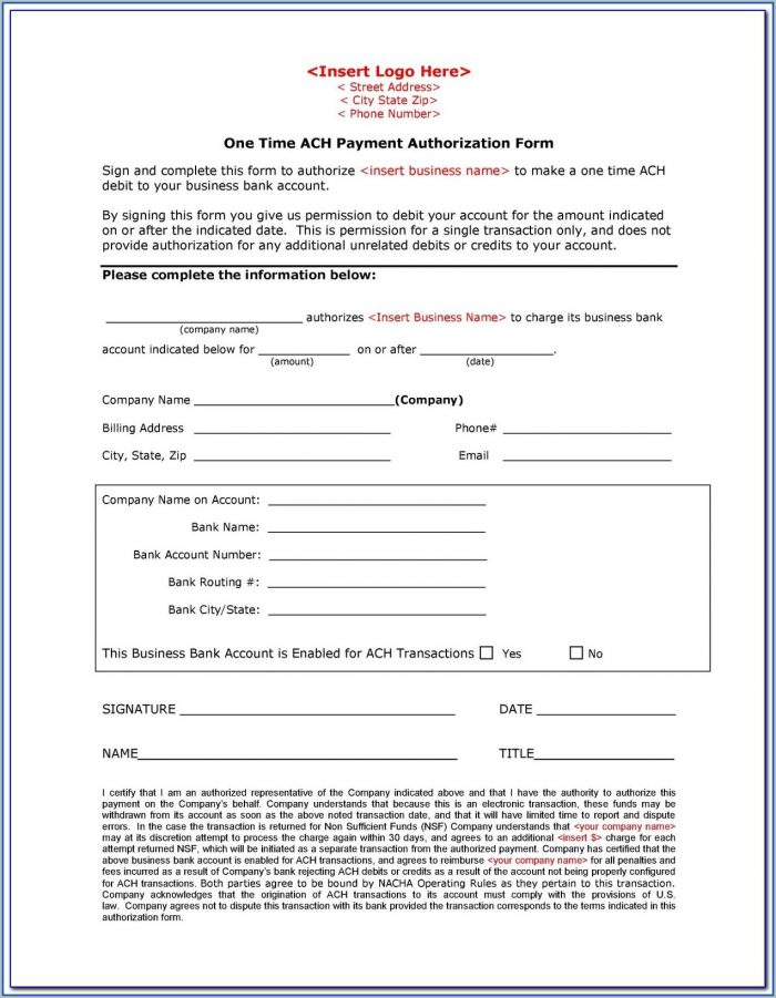 Ach Vendor Payment Information Form
