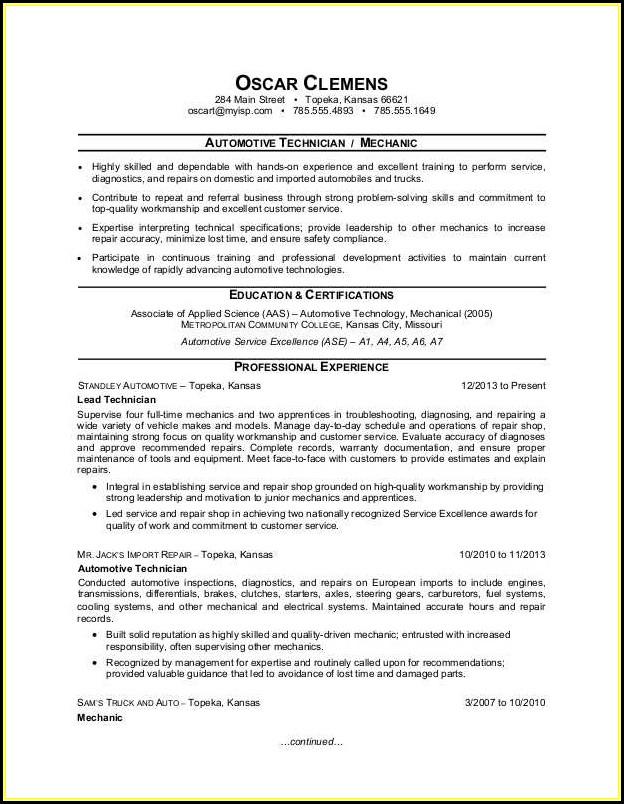 Auto Technician Resume Templates