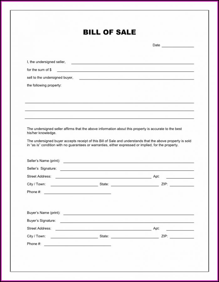 Bill Of Sale Form Free Template