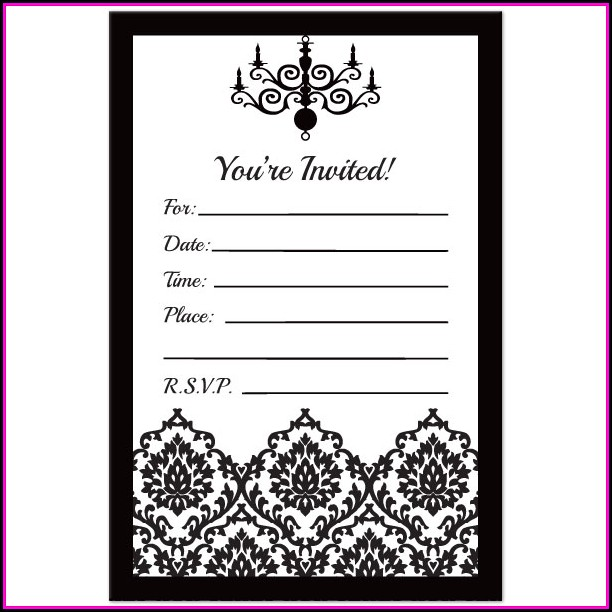 Black And White Birthday Party Invitations Templates