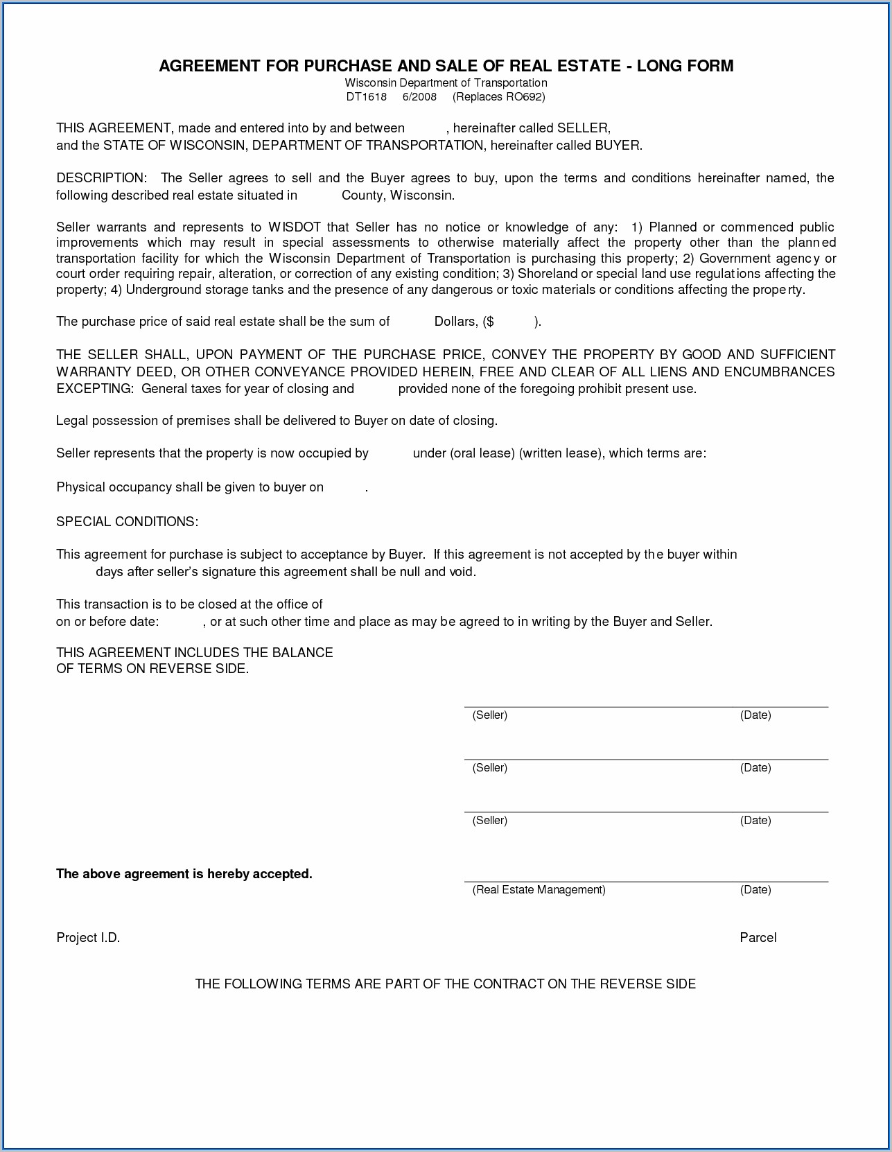 Blank Real Estate Purchase Agreement Form