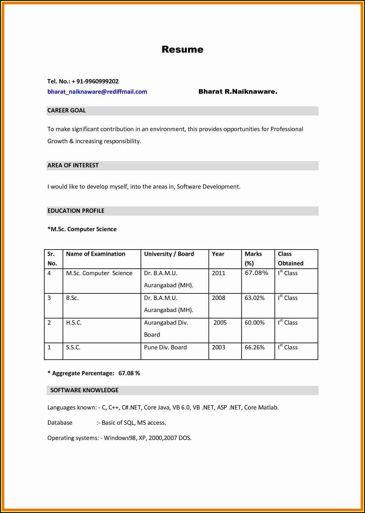 Bsc Resume Format Pdf Download - BEST RESUME EXAMPLES