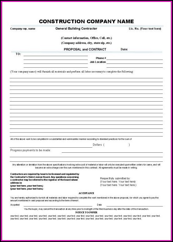 Builders Contract Template South Africa