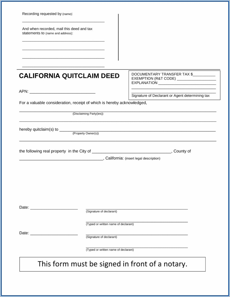 California Quit Claim Deed Form Fillable