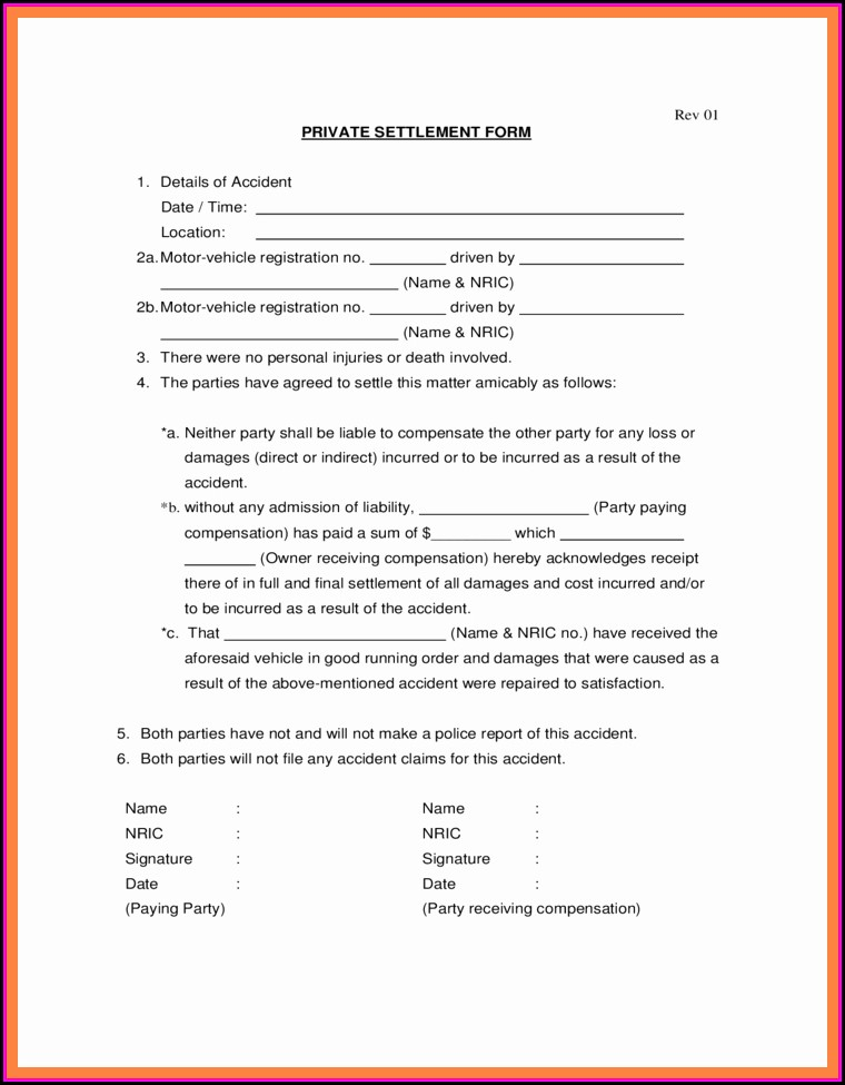 Car Accident Settlement Agreement Letter Template   Template 2