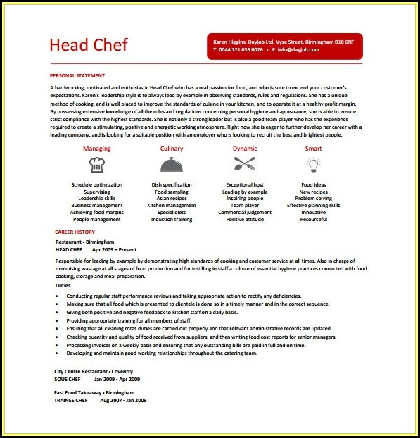 Chef Cv Template Free