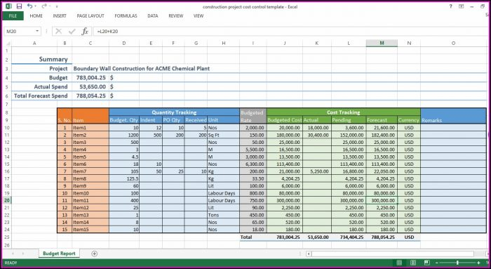Construction Project Cost Control Template Excel