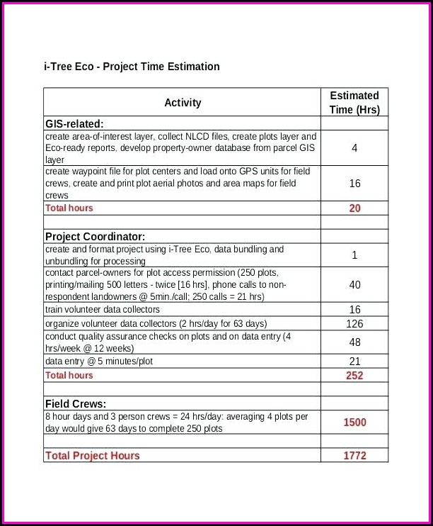 project estimation template excel