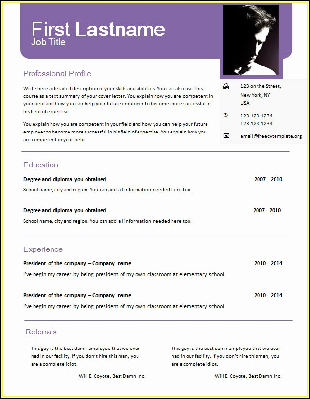 Cv Template Doc Free Download