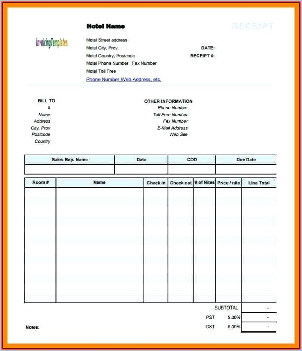 Fake Hotel Receipt Template