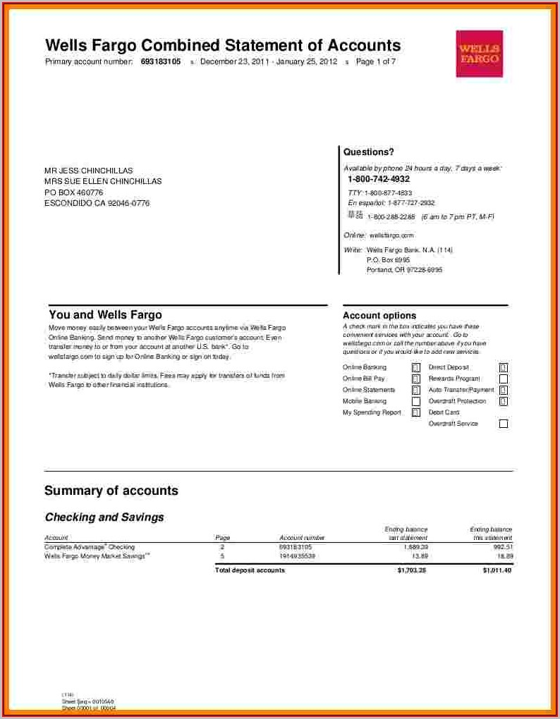 Fake Wells Fargo Bank Statement Template