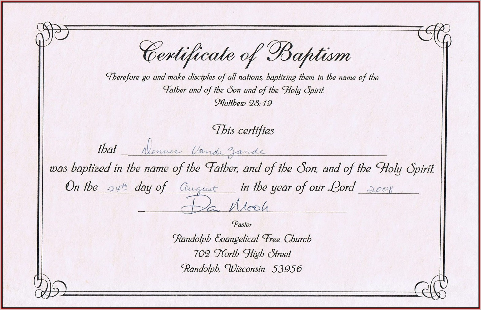 Free Baptism Certificate Template Word