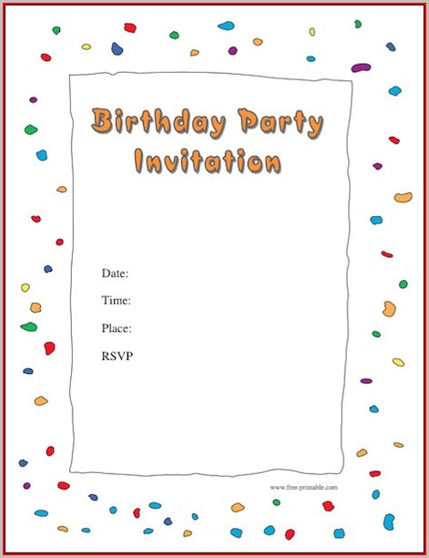 Free Birthday Party Invitation Templates