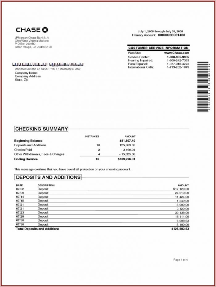 Free Blank Bank Statement Template
