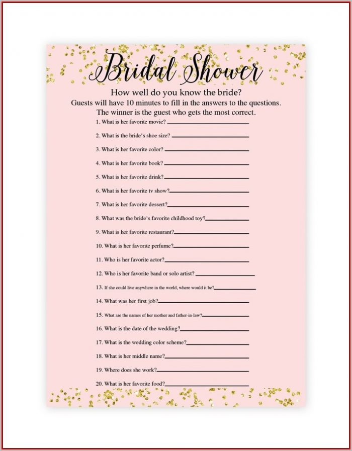 Free Bridal Shower Game Templates