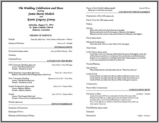 Free Catholic Wedding Program Template Without Mass