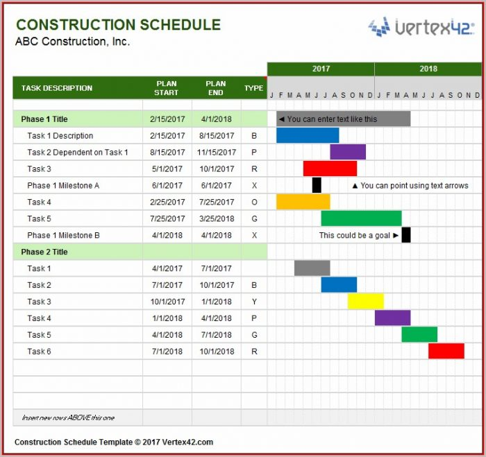 Free Construction Schedule Template