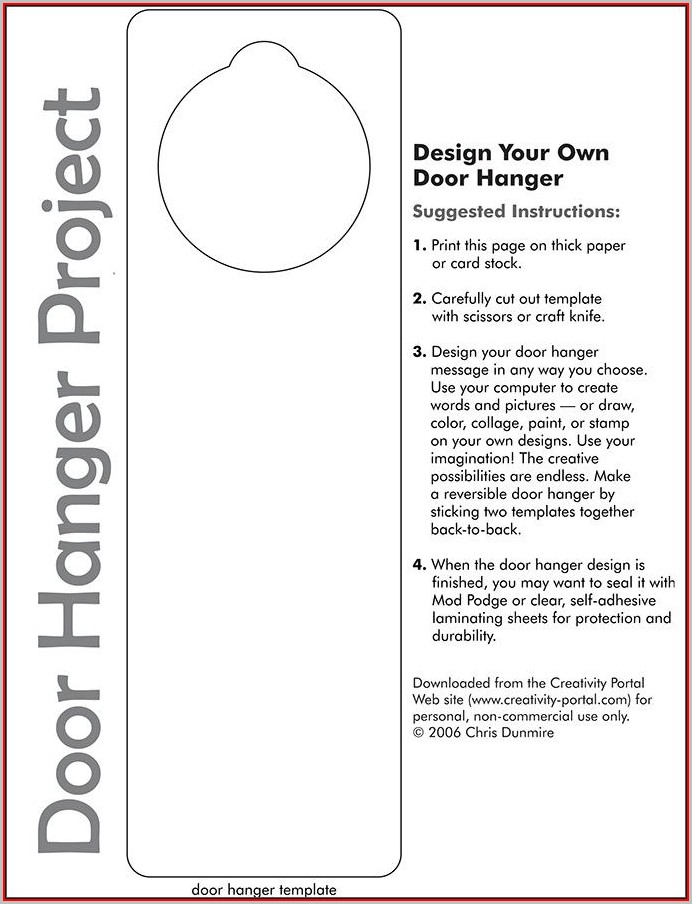 Free Door Hanger Template For Word