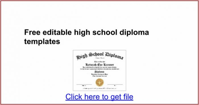Free Editable High School Diploma Templates
